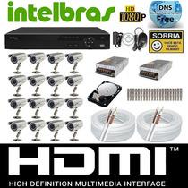 Kit Cftv 16 Cameras Sony 1/3 Dvr 16c Intelbras Vd3116+hd 1tb