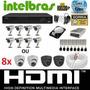 Kit Cftv 8 Cameras Infra 800l Sony Dvr 8 Canais Intelbras Hd