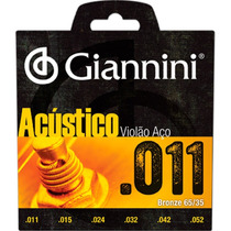 Jogo De Cordas Para Violão Série Acústico Aço 0.11 Giannini