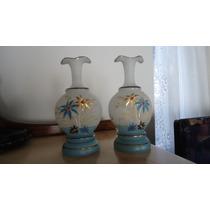Antigo Par De Vasos Opalina Pintados A Mão