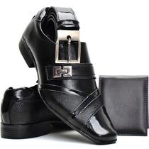 Sapato Social Couro Envernizado Brilhoso + Cinto+carteira