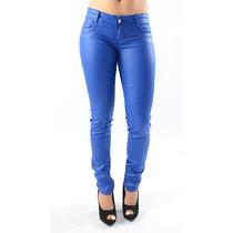Calça Caution Resinada Jeans Com Lycra Azul Bic