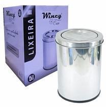Lixeira Basculhante Em Inox 5 Litros Para Banheiro Original