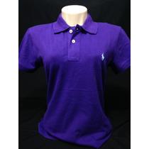 Camiseta Polo Ralph Lauren Fem. Roxa Com Cavalo Azul Tam G