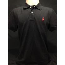 Camiseta Polo Ralph Lauren Preta Com Cavalo Vermelho Tam G