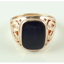 Anel Masculino Aro 16 Banhado Ouro Rose Enamel Negro J1928f