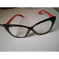 Óculos Gato Gatinho Cat Eye Armação Grau Preto E Vermelho
