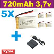 Bateria Para Drone Syma X5c X5sw 5 Und 720mah + Carregador