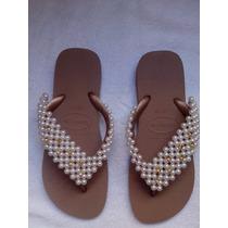 Sandalia Chinelo Havaianas Bordado Com Perola Abs E Strass