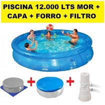Kit Piscina Inflavel 12.000 L + Capa + Forro + Filtro 220v