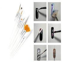 Kit 15 Pinceis De Unha Nail Arte Decoração Pincel Brush