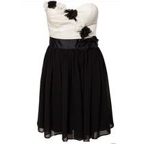 Vestido Tomara Caia Curto Preto E Branco Duas Cores Bicolor