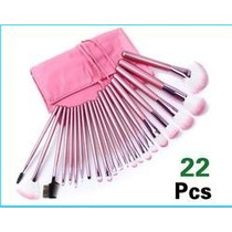 Bolsa Kit De Pincéis C/ 22 Unidades P/ Maquiagem Rosa