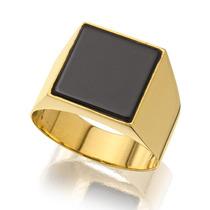 Anel Ouro 18k Com Pedra Ônix 5,5g Frete Grátis