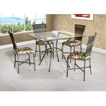 Mesa +4 Cadeiras Revestida Em Junco Sintético Varanda Rattan