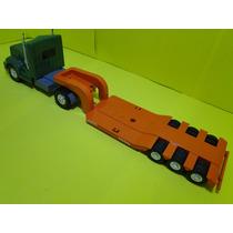 Caminhão Prancha 03 Eixos Escala 1/24 65cm Comp Trator