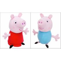 Irmãos Peppa Pig E George Pelúcia 30cm - Casal - Par Pelúcia