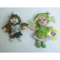 Brinquedo Antigo Bonecas De Pano Lote C/ 02 Peças