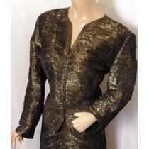 Conjunto Importado M Luxuoso Blazer E Saia Elegante Dourado