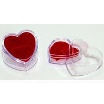 20 Embalagem Caixinha Coração Acrilico Para Anel Atacado