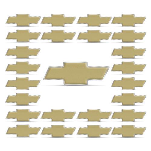25 Emblemas Gravata Chevrolet Dourado Fosco