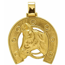 Pingente Ferradura Com Cabeça De Cavalo Em Ouro 18k