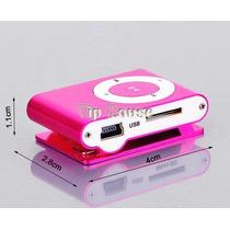 Aparelho Mini Mp3 Player Clip Rosa Pink Com Entrada Cartão