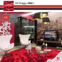 Tapete Shaggy Fio Seda, Vermelho, Sob Medida : 1,50m Redondo