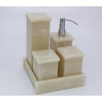 Kit Potes Banheiro Acrílico Bege Marmor C/ Strass_personaliz