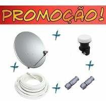 Kit Antena 60cm Ku + 20mt Cabo , +2 Conectores + 1 Lnb