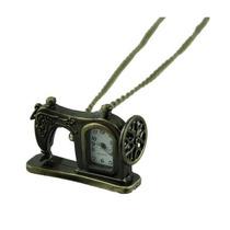 Relógio Pingente Máquina Costura / Colar Ouro Envelhecido