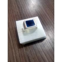 Anel Comendador Prata 925 - Pedra Ágata Azul