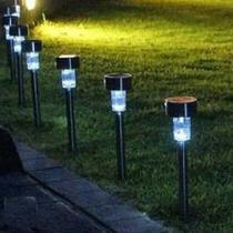 Luminária Solar De Jardim Em Inox / 24 Peças + Nota Fiscal