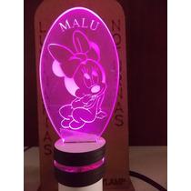 Luminária Infantil De Led, Bivolt, Baby Minnie Personalizada