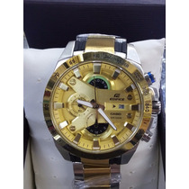 Relogio Casio Edifice Dourado Misto Caixa Manual + Frete