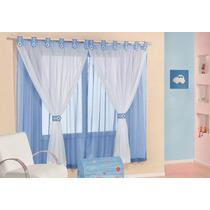 Cortina Infantil Juvenil Azul De Voal 2mx1,7m Varão Simples