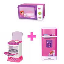 Kit Fogao + Geladeira Super Magica + Microondas Magic Toys