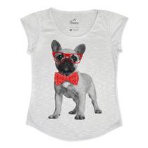 Blusa Feminina Bulldog Francês Nerd Com Gravata De Bolinhas