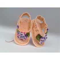A 126 Sapatinho Croche Feminino Sandalia Bebe Enxoval Menina