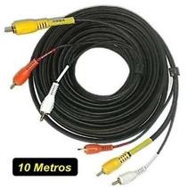 Cabo Audio E Video Rca 10 Metros Av Blindado Tv A Cabo Net