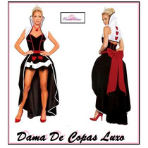 Fantasia Feminina Festa Dama Copas Luxo Pronta Entrega