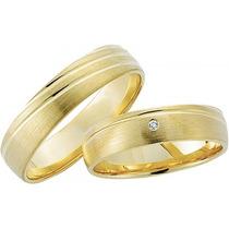 Par De Aliança Em Ouro K 18 E Diamantes