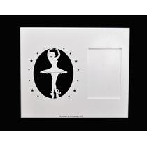 Quadro C/ Porta Retrato Bebê Bailarina Branco 30x4x25 -laser
