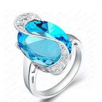 Anel Solitário Prata 925 Com Safira Simulada Em Azul Gigante