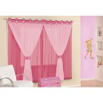 Cortina Juvenil Pink Em Voal 2mx1,7m Varão Simples