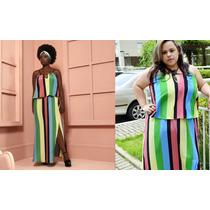 Vestido Longo Julia Plus Size Colorido Listras 46,48,50,54