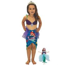 Fantasia Ariel Luxo C/ Roupa De Boneca