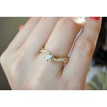 Anel Solitário Em Ouro 18k Mais 30 Pontos Em Diamantes