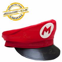 Quepe Chapéu Boina Super Mario Bros Cosplay Fantasia