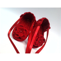 A134 Sapatinho Croche Feminino Vermelho Sandalia Bebe Menina
